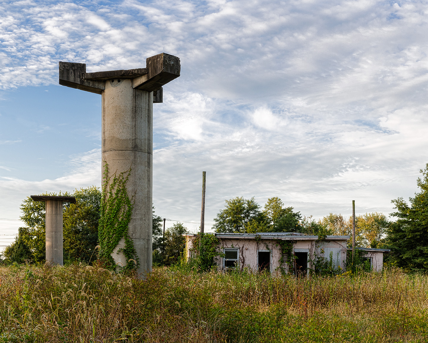 Radar Towers and Control Building by Richard Lewis