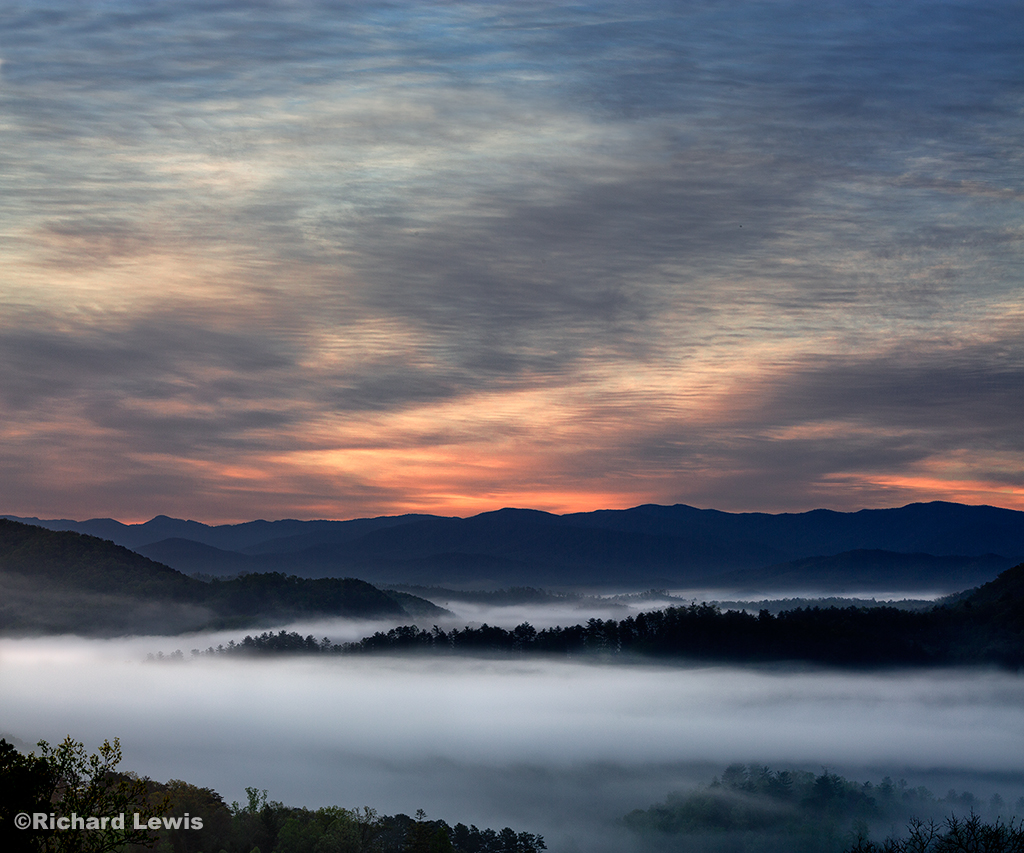 Morning Fog at Dawn in the Smokey Mountains