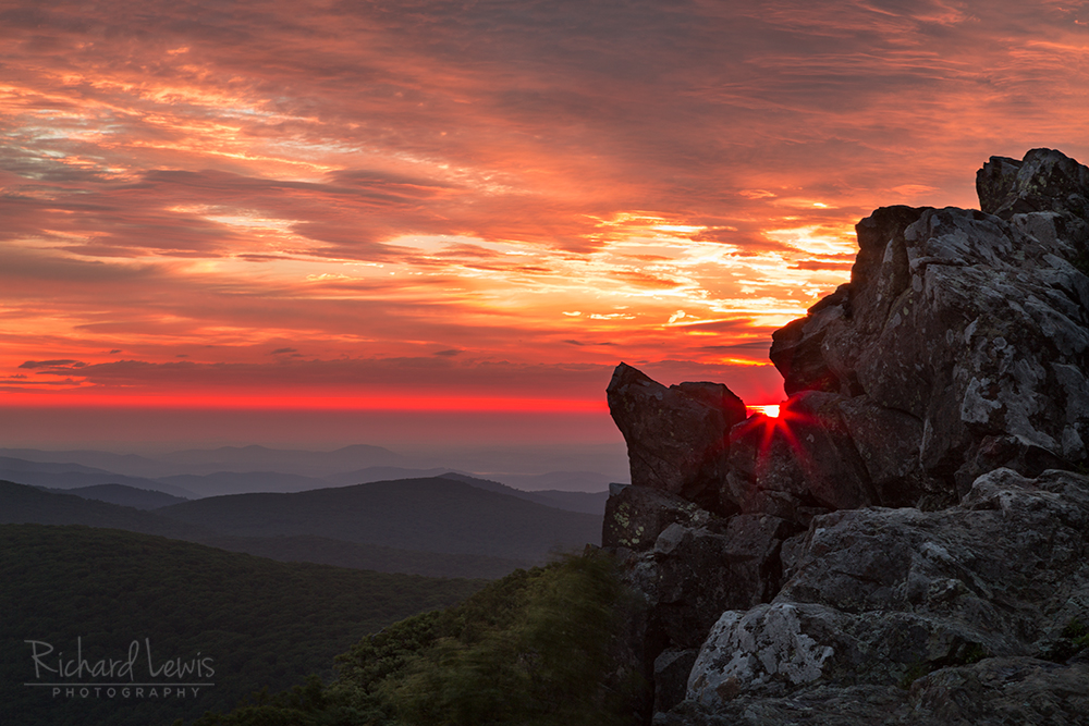 Sunrise Through Hawksbill Mountain Shenandoah National Park by Richard Lewis
