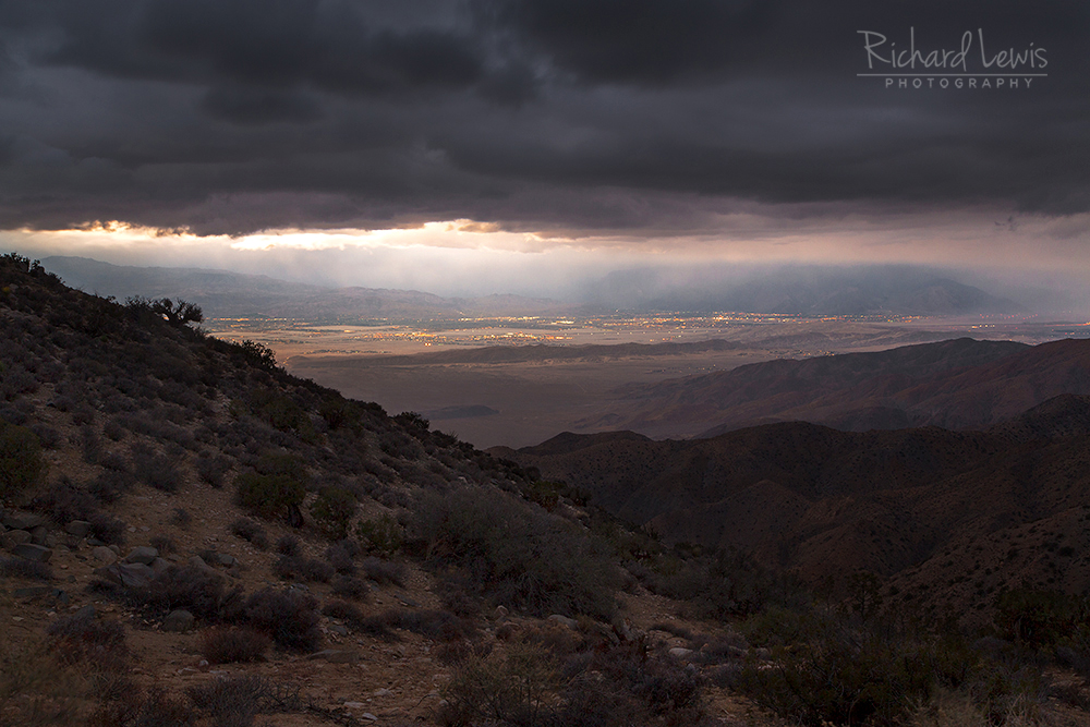 Storm Light on Palm Springs from Joshua Tree National Park by Richard Lewis