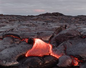 Lava Flow At Dusk Hawaii