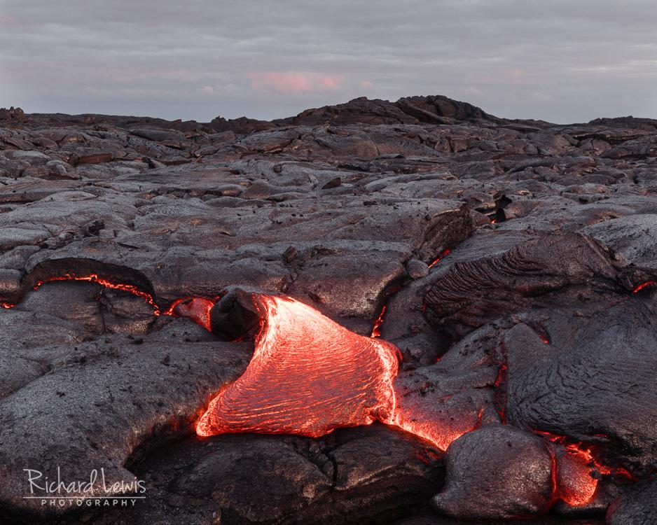 Lava Flow At Dusk Hawaii