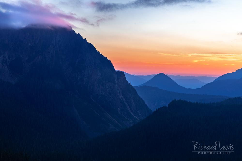 Last Light On The Tatoosh Range Mount Rainier