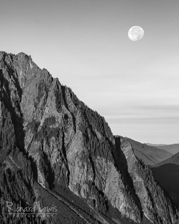 Morning Moon Mt Rainier